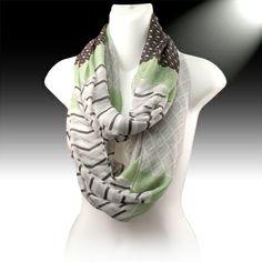 NEW!  Gray, green chevron infinity scarf $10.50 https://www.facebook.com/TheGoofyGoddess