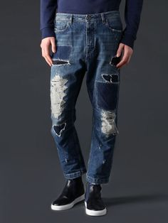 jeans, clothing, shoes, bags and watches Patched Jeans, Ripped Jeans, Denim Jeans, Formal Trousers For Men, Streetwear, Gold Jeans, Denim Art, Denim Patchwork, Vintage Denim