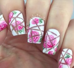 """Doing this """"broken"""" style isn't really as hard as it looks like. You just need strips of tape, place it on your nails after you have prepped your nails and work on your design like normal. Stripping off the tape will then create the effect."""