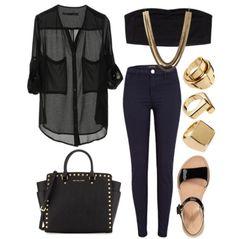 Black on black #jeans #black #gold #fashion