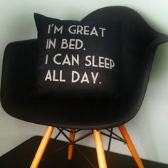 """""""I'm Great In Bed"""" Black Throw Pillow"""