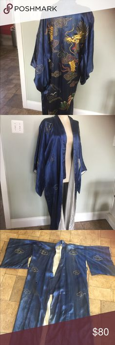 """Vintage Silk Japanese Kimono This is a vintage Japanese Kimono in blue silk.No sure of the exact age.Was from a friend's Great parents estate.There is some fading(see in a few of the photos) a small rip on the back of one Sleeve All very minor for its age.Chest laying flat is 25"""" and length is 52"""" vintage Jackets & Coats"""