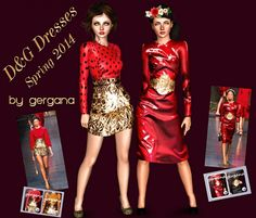 2 D&G Dresses from the Spring 2014 Collection by Gergana - Sims 3 Downloads CC Caboodle