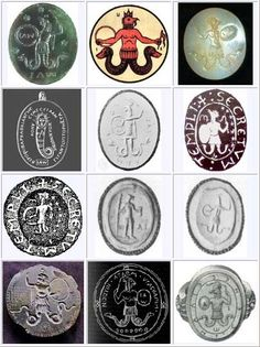 The God Abraxas (Abrasax, Abraxis and Latin-Afipacrdl) comes to us from ancient Egypt and Greece. He is associated with the early beginnings of Gnosticism which Ancient Aliens, Ancient Rome, Ancient History, The Doors Of Perception, Magic Symbols, Mystery Of History, Crop Circles, Ancient Mysteries, Mythical Creatures