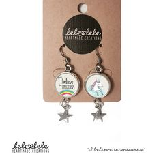Steel earrings with unicorn and rainbow - Orecchini in acciaio con pendenti  I believe di LeleleleCreations