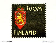 Postimerkki 1900 surumerkki, Akseli Gallen-Kallela - 1900-1920 Small Art, Old Toys, Porsche Logo, Postage Stamps, Christmas Cards, Nostalgia, Old Things, Childhood, Retro