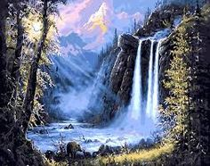 Cheap art pictures, Buy Quality diy painting directly from China painting diy Suppliers: CHENISTORY Mountain Waterfall Landscape DIY Painting By Numbers Kits Drawing Modern Wall Art Picture For Home Decor Arts Forest Waterfall, Mountain Waterfall, Diy Waterfall, Oil Painting On Canvas, Diy Painting, Canvas Artwork, Diy Image, Images D'art, Forest Falls