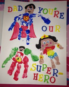 We just finished our Father's Day masterpiece. Superhero fingerprints/handprints (inspiration from other pins), and some foam letters I found at Hobby Lobby. I also had the kids sign the back and I'm going to frame it in a shadow-box type frame. #fathersday #superhero #fingerpaint #handprint