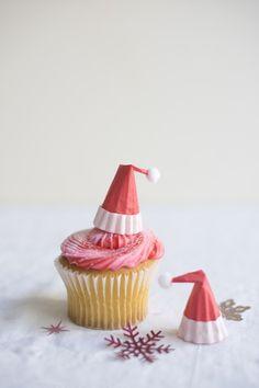 """12 x joyeux noël santa 2/"""" pre-cut premium papier de riz gâteau toppers"""