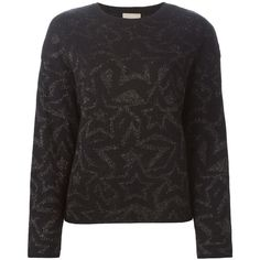 Laneus Intarsia Knit and Glitter Star Sweater (495 AUD) ❤ liked on Polyvore featuring tops, sweaters, black, black top, intarsia sweater, knit tops, star sweater and black sweater