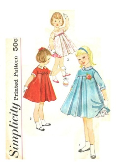 Simplicity 2789 Vintage 50s Sweet Toddler Girl's Dress with Detachable Collar & Cuffs and Separate Slip Sewing Pattern Size 2. $13.00, via Etsy.