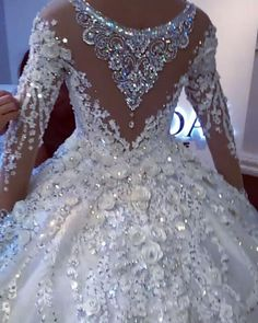 Ball Gown High-neck Luxury Train Long Sleeves Sparkle Applique Satin Wedding Dresses - New ideas Crystal Wedding Dresses, Fancy Wedding Dresses, Stunning Wedding Dresses, Luxury Wedding Dress, Princess Wedding Dresses, Bridal Dresses, Boho Wedding, Barbie Mode, Ball Gowns