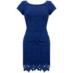 LOVARNI Block Floral Cut Out Shift Dress Navy Blue