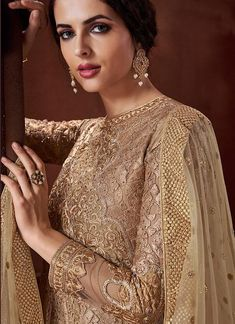 Golden Beige Embroidered Anarkali Suit