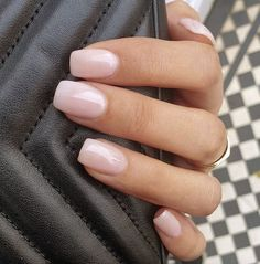 Blush Pink Nails, Pink Nail Colors, Rose Nails, White Nails, Color Powder Nails, Pink Tip Nails, Gel Powder Nails, One Color Nails, Black Nail