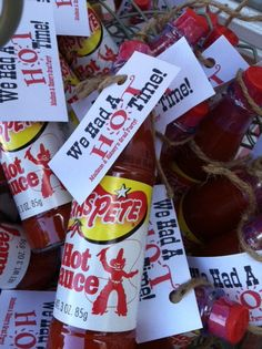 Hot sauce party favors -- love this!