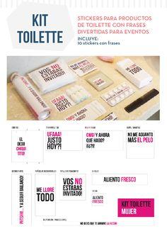 Kit Toilette Imprimible Para Casamiento Evento Baño Sticker - $ 150,00