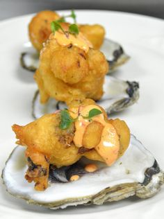 Oyster Fritters with Roasted Red Pepper Aioli