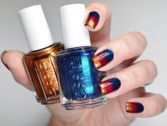 Fall-ing in love with the essie fall collection. Recreate this gradient nail art look with the metallic 'leggy legend', shimmering blue 'bell-bottom blues' and plum 'in the lobby'.