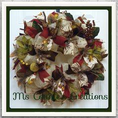 Fall Deco Mesh Wreath by CreationsbyMsConnie on Etsy, $65.00