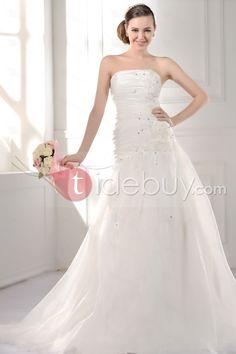 優雅なトランペット/マーメイドストラップレス花チャペルトレーン床長さウェディングドレス