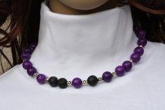 #Schmuck #Halsschmuck #Kette #Lava #Magnesit #lila #schwarz #handmade Hier aus meiner Ketten-Edition ein zauberhaftes Unikat in lila und schwarz. Ich habe Edelstein-Perlen aus...