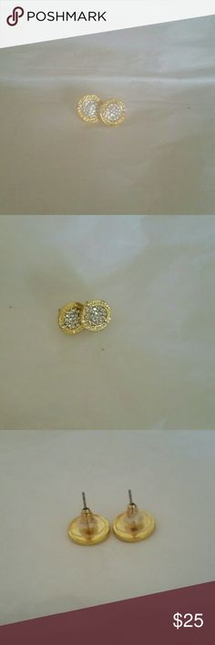 MK Diamond stud earrings MK Diamond crystals stud earrings 1/2 inch round. Writing on it says Michael kors Jewelry Earrings