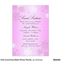 Pink Crystal Snowflake Winter Wonderland Sweet 16 Card Matching products in the GoDesign store! Custom birthday party invitations / invites #invitations #invites #birthdayparty  #sweetsixteen #sweet16