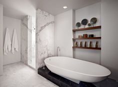 30 Marble Bathroom Design Ideas > dark marble contrast -- could be the shower tray http://freshome.com/2014/10/16/30-marble-bathroom-design-ideas-styling-up-your-private-daily-rituals/