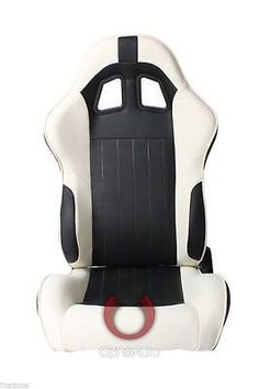 CPA1009 BLACK AND WHITE LEATHERETTE CIPHER AUTO RACING SEATS - PAIR