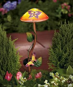 Lighted Solar Powered Butterfly Mushroom Garden Stake Yard Art