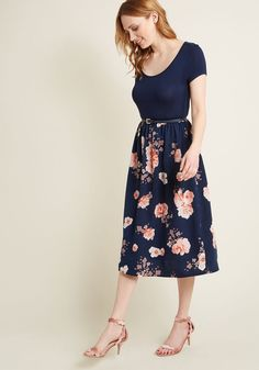 Patio Gathering Floral Midi Dress - As you expertly mingle with the guests of your alfresco soiree, the floral print of your navy midi dress complements the open-air scene. A jersey knit bodice, a scoop neck, cap sleeves, and a belted waist further contribute to the loveliness of this ModCloth namesake label number, making it the ideal option for your hosting activities!