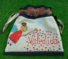 Talega o bolsa de desayuno pintada a mano y confeccionada con telas recicladas