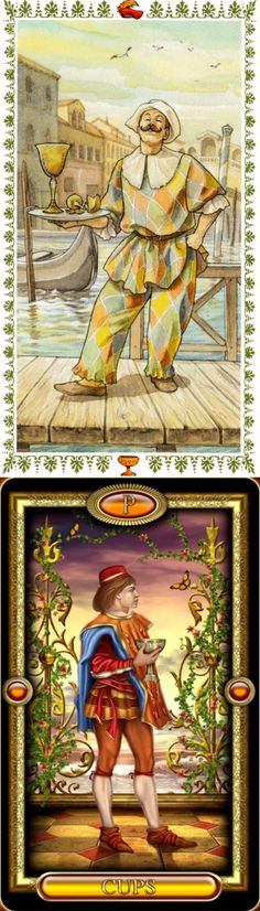 Page of Cups: appy surprise and immaturity (reverse). Romantic Tarot deck and Royale Tarot deck: terra cards, lotus tarot online reading and free online tarot card reading. Best 2017 fortune telling and wiccan marvel. #spell #hermit #spellwork