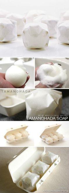 """#生活小物# """"TAMANOHADA (玉の肌)球形肥皂"""",百年手工皂品牌,包装就像鸡蛋盒,很有特色。via:http://www.tamanohada.co.jp/en/products/detail.php?product_id=38"""