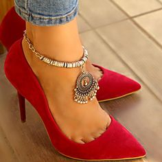 Silver Anklets, Silver Jewelry, Unique Jewelry, Boho, Kitten Heels, Trending Outfits, Pumps, Handmade Gifts, Strand