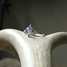 Small Grey Moonstone Ring in Sterling Silver Bezel by JayCuneo