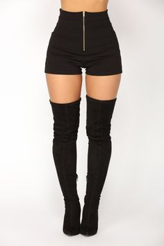 Available In Black High-Rise Full Stretch Ponte Fabric Back Elastic Waist Insert Front Gold Zipper Detail Front Seam Detail Super High Waist Rayon Nylon Spandex Made in USA Teen Fashion Outfits, Stage Outfits, Cute Fashion, Trendy Fashion, Womens Fashion, Cute Casual Outfits, Edgy Outfits, High Rise Shorts, High Jeans