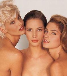 "a-state-of-bliss: ""Vogue UK June 1991 - Linda Evangelista, Christy Turlington & Cindy Crawford by Hern Ritts "" 1990s Supermodels, Original Supermodels, Linda Evangelista, 90s Models, Fashion Models, High Fashion, Niki Taylor, Stephanie Seymour, Elle Macpherson"