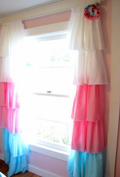 DIY curtains - cute for a little girl's room- matches brylees bedding and her decorations! Too cute