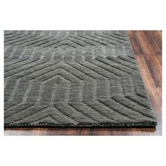 Rizzy Home Technique Collection Hand-Loomed 100% Wool Area Rug, Dark Grey