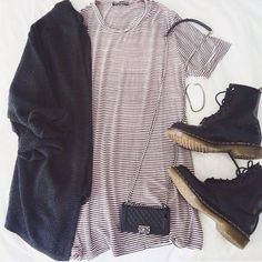 Black V Neck Long Sleeve Loose Knit Cardigan, not the shoes but outfit is cute Mode Outfits, Fall Outfits, Summer Outfits, Casual Outfits, Fashion Outfits, Womens Fashion, Fashion Clothes, Looks Style, Looks Cool