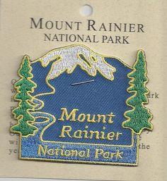 SOUVENIR PATCH - MOUNT RAINIER NATIONAL PARK, WASHINGTON STATE Travel Patches, Mount Rainier National Park, National Parks Usa, Travel Souvenirs, Iron On Patches, Washington State, Road Trips, Badge, Wildlife