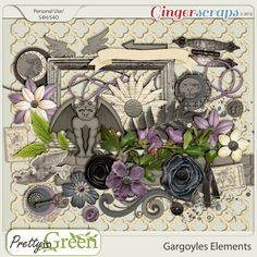 Gargoyles Elements are part of the Ginger Scraps October 2013 Buffet    1 arrow: 1 Banner: 3 buttons: 3 Circle Stacks: 1 fenceing: 1 Flourish: 8 flowers: 3 folage: 1 frame: 2 gargoyles: 1 Hinge: 1 Old key: 1 ribboon: 1 splatter: 2 stamps: 2 Strings: 1 brick wall: 1 set of wings