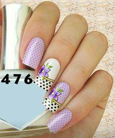 Girly white & violet nails