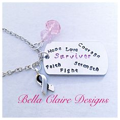 Breast Cancer Survivor Necklace Hand Stamped by BellaClaireDesigns