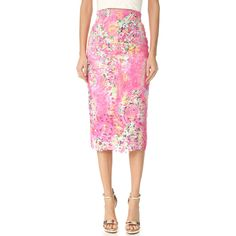 Monique Lhuillier Lace Pencil Skirt (104,985 INR) ❤ liked on Polyvore featuring skirts, knee length lace skirt, pink lace skirt, lacy skirt, slit skirt and monique lhuillier