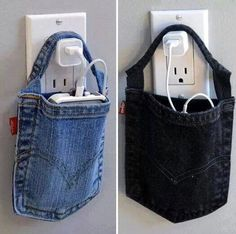 Reuse old jean pockets to hold your phone. :)