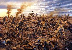 """""""A la muerte"""", captura de Lone Pine durante la batalla de Gallipoli. Detalle de una pintura por Drew Harrison. Más en www.elgrancapitan.org/foro"""