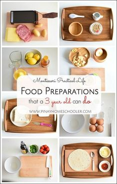 Ideas for your preschooler to help to prepare food. Practical life ideas for Montessori at home.